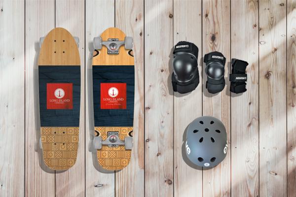 cruiser skateboard, protecciones y casco